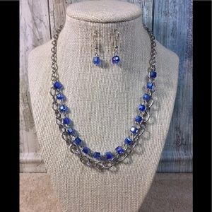 Paparazzi necklace in a Silver and Blue
